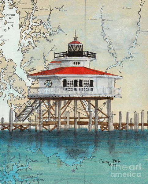 Wall Art - Painting - Choptank River Lighthouse Md Cathy Peek Nautical Chart Map Art by Cathy Peek