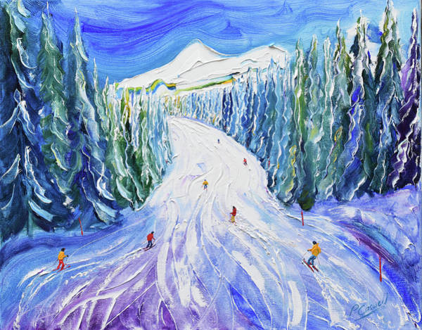 Skiing Painting - Choucas Piste by Pete Caswell