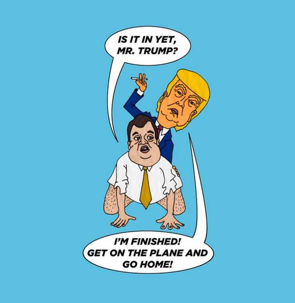 Trump Cartoon Painting - Chris Christie Endorses Donald Trump by Sean Corcoran