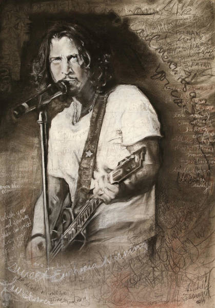 Black Friday Wall Art - Drawing - Chris Cornell Tribute With Lyrics by Michelle Flanagan