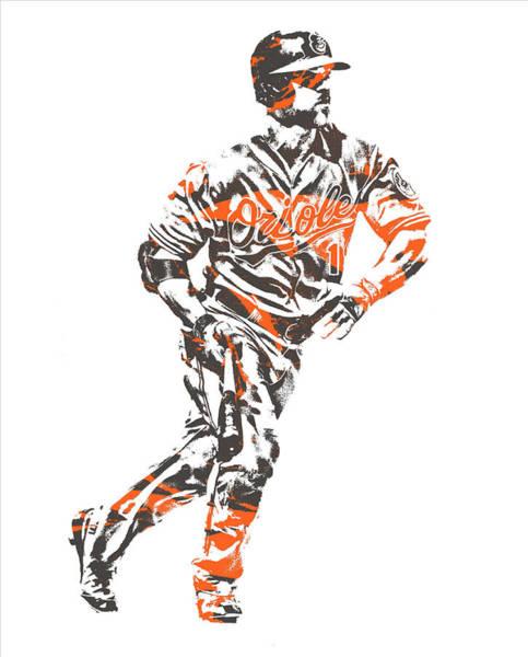 Orioles Wall Art - Mixed Media - Chris Davis Baltimore Orioles Pixel Art 12 by Joe Hamilton