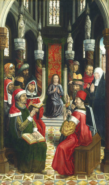 Wall Art - Painting - Christ Among The Doctors by Master Of The Catholic Kings