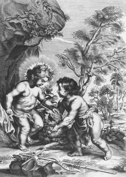 Jesus Drawing - Christ And John The Baptist  Behold The Lamb Of God by Gaspar Huberti