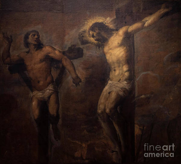 1566 Photograph - Christ And The Good Thief by Peter Barritt
