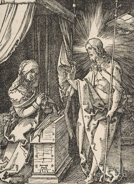 Albrecht Durer Wall Art - Drawing - Christ Appearing To His Mother, From The Small Passion by Albrecht Durer