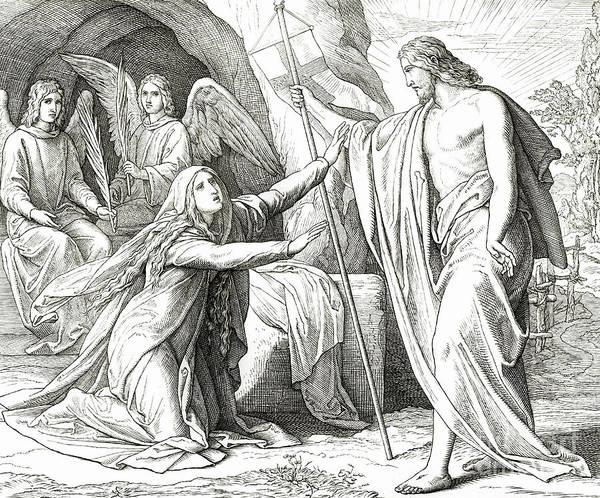 Gospel Drawing - Christ Appears To Mary Magdalene by Julius Schnorr von Carolsfeld
