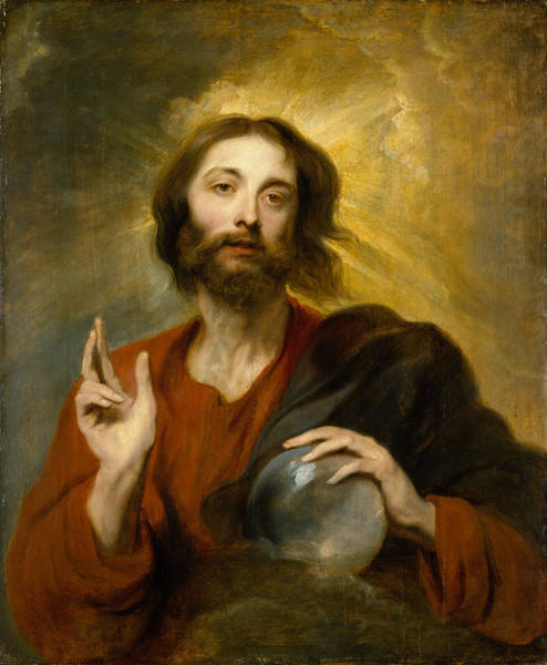 Sacrament Wall Art - Painting - Christ As Salvator Mundi by Anthony van Dyck