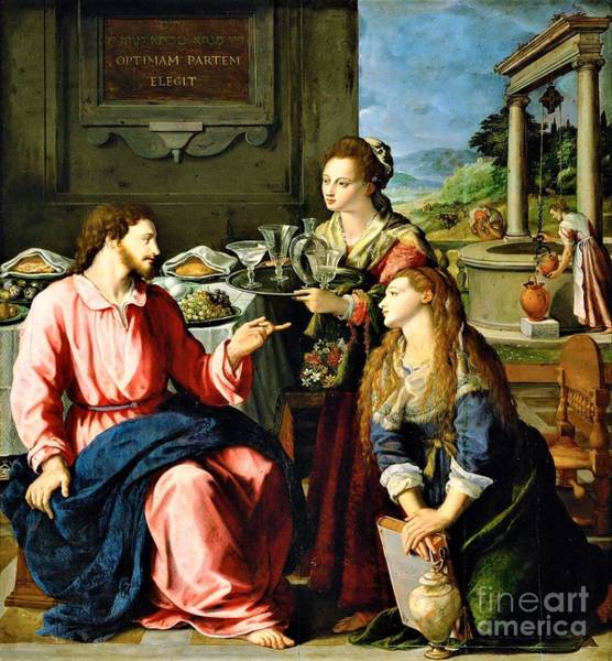 Wall Art - Painting - Christ At House Of Martha And Mary by Pg Reproductions