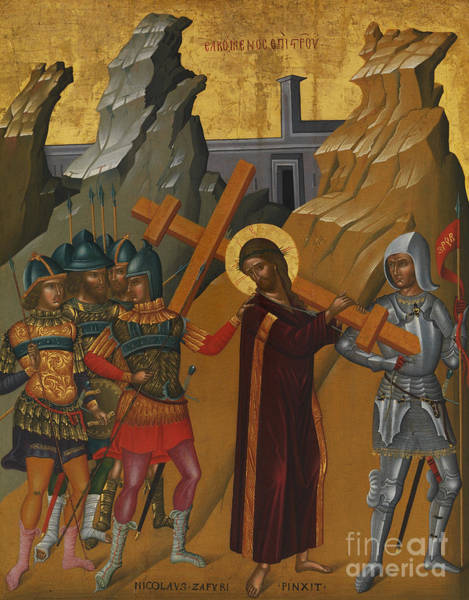 Church Of The Cross Painting - Christ Bearing The Cross by Greek School