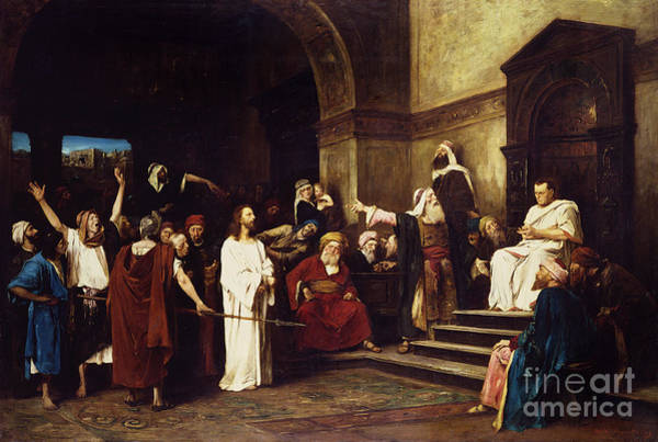 1900 Wall Art - Painting - Christ Before Pilate by Mihaly Munkacsy