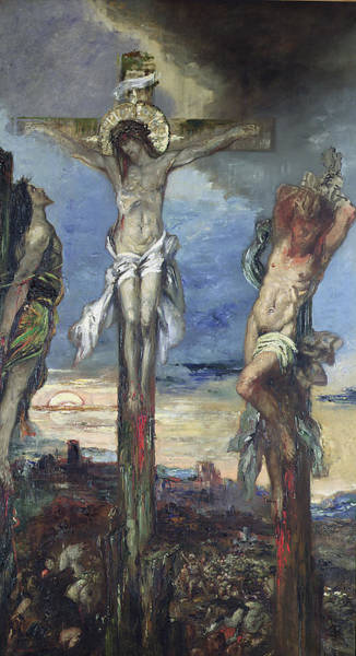 Thief Painting - Christ Between The Two Thieves by Gustave Moreau