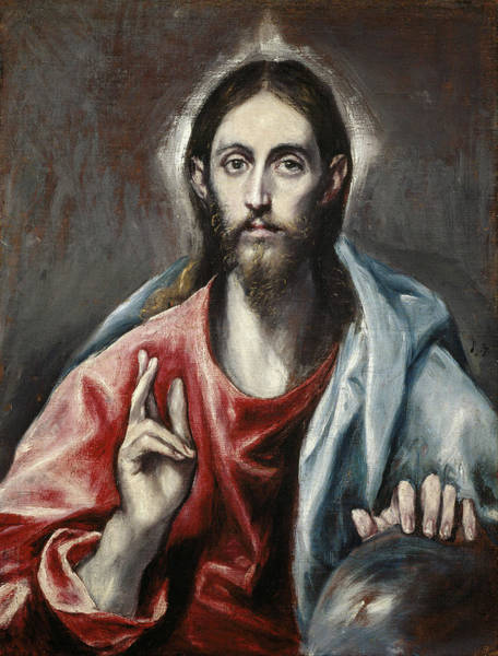 Redeemer Wall Art - Painting - Christ Blessing, The Saviour Of The World by El Greco