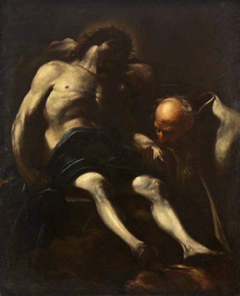 Buried Painting - Christ Buried By Joseph Of Arimathea by Giacinto Brandi