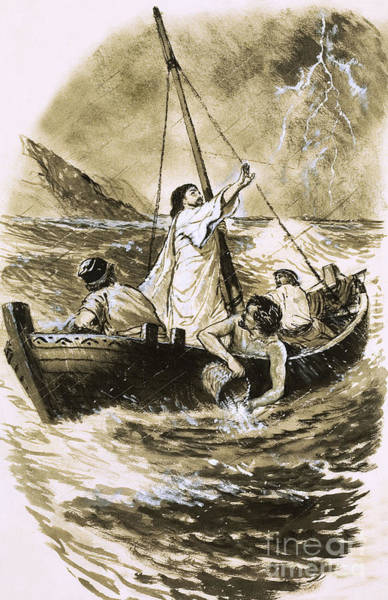 Wall Art - Painting - Christ Calming The Storm by Clive Uptton