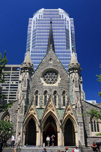 Photograph - Christ Church Cathedral Downtown Montreal City by Pierre Leclerc Photography