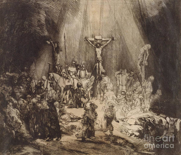 Gospel Drawing - Christ Crucified Between The Two Thieves  The Three Crosses, 1653 by Rembrandt