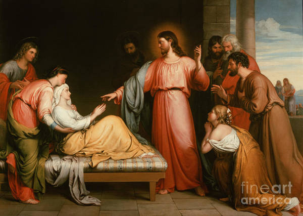 Mother Of God Wall Art - Painting - Christ Healing The Mother Of Simon Peter by John Bridges