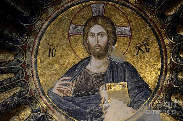 Photograph - Christ Holds Bible In Mosaic At Chora Church Istanbul Turkey by Imran Ahmed