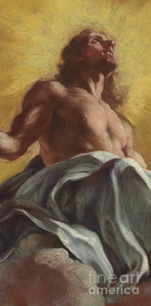 Vatican Painting - Christ In Glory  Detail by Il Baciccio
