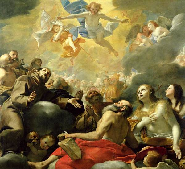 Glory Painting - Christ In Glory With The Saints by Mattia Preti