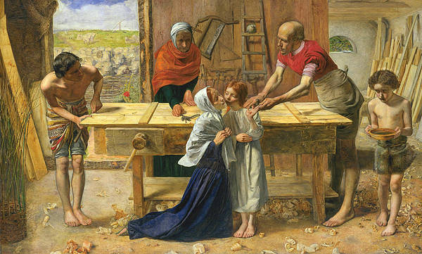 Pre-raphaelite Brotherhood Painting - Christ In The House Of His Parents by John Everett Millais