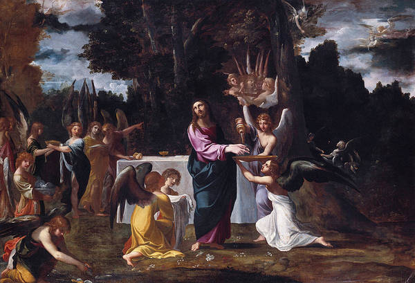 Redeemer Wall Art - Painting - Christ In The Wilderness, Served By Angels by Ludovico Carracci