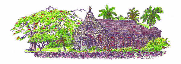 Lava Drawing - Christ Memorial Episcopal Church by Zander Phelps