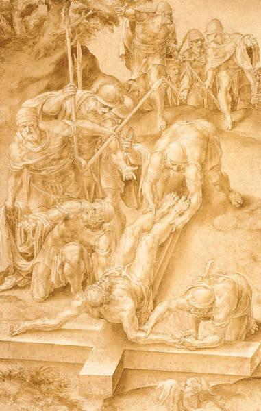 Jesus Drawing - Christ Nailed To The Cross by Lelio Orsi da Novellara