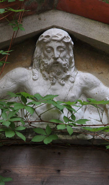 Wall Art - Photograph - Christ On Shrine In Venice With Leaves by Michael Henderson