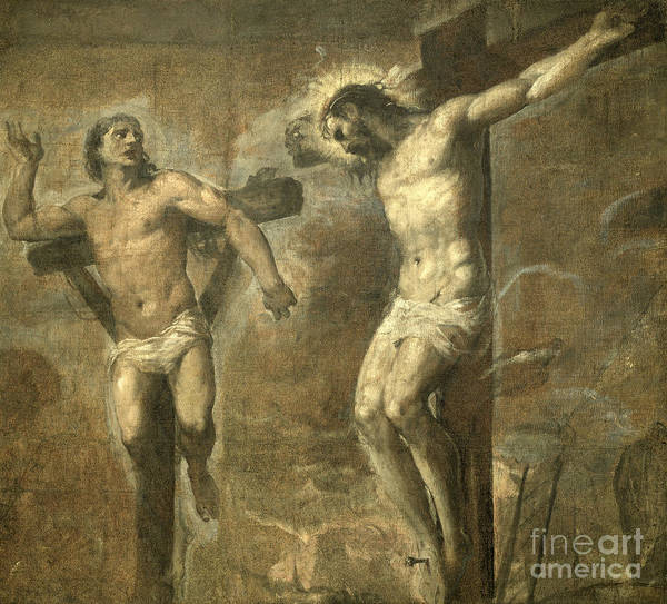 Thief Painting - Christ On The Cross And The Good Thief by Titian