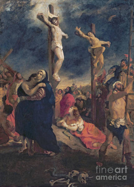 Inri Wall Art - Painting - Christ On The Cross by Delacroix