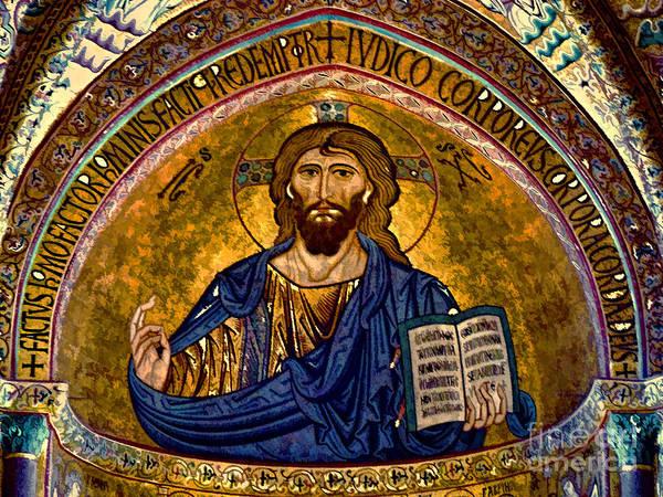 Pantocrator Photograph - Christ Pantocrator Mosaic by Sue Melvin