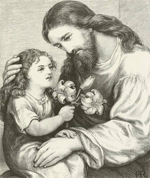 Gospel Drawing - Christ Receiving A Child by English School