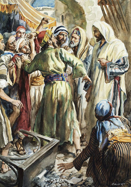 Wall Art - Painting - Christ Removing The Money Lenders From The Temple by Henry Coller