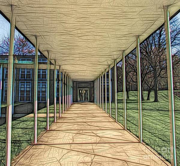 Photograph - Christ The King Seminary Covered Walkway Abstract Sketch Effect by Rose Santuci-Sofranko