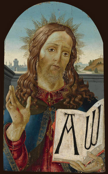 Botticelli Wall Art - Painting - Christ The Redeemer Blessing by Studio of Sandro Botticelli