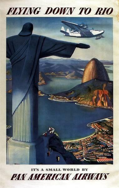 Wall Art - Photograph - Christ The Redeemer, Rio, Brazil - Pan American Airways - Retro Travel Poster - Vintage Poster by Studio Grafiikka
