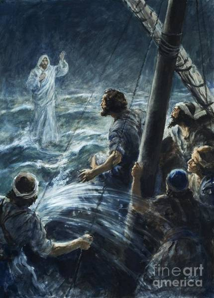 Lightning Painting - Christ Walking On The Sea Of Galilee by Henry Coller
