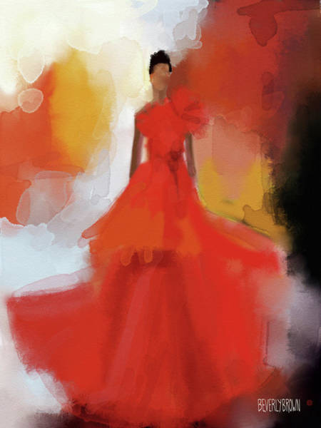 Painting - Christian Siriano Red Dress Fashion Illustration by Beverly Brown