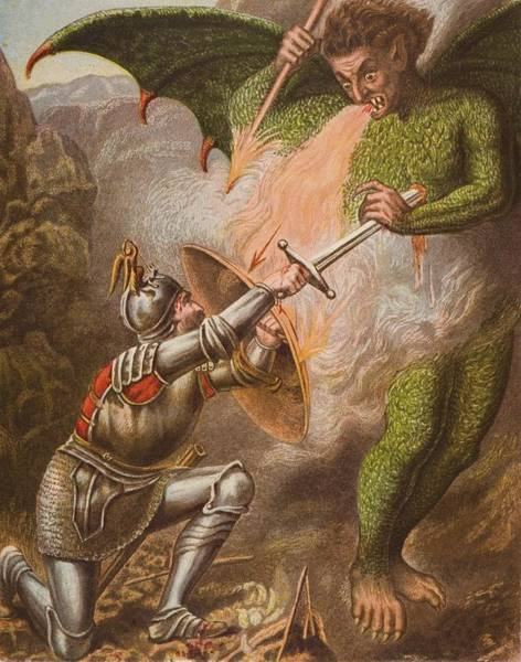 Wall Art - Drawing - Christians Conflict With Apollyon. From by Vintage Design Pics