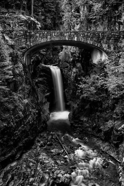 Mount Rainier Photograph - Christine Falls - Mount Rainer National Park - Bw by Stephen Stookey