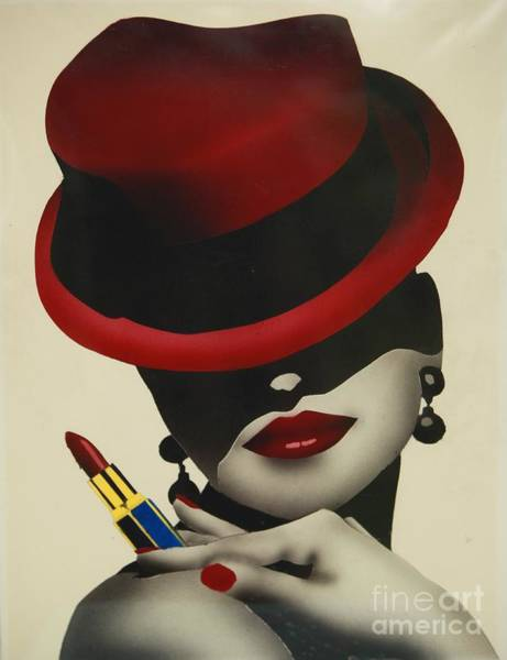 Painting - Christion Dior Red Hat Lady by Jacqueline Athmann