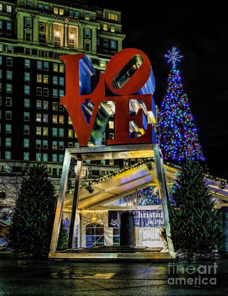 Photograph - Christmas - Love Park  by Nick Zelinsky