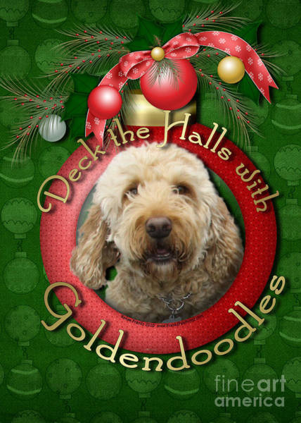 Golden Retriever Digital Art - Christmas - Deck The Halls With Goldendoodles by Renae Crevalle
