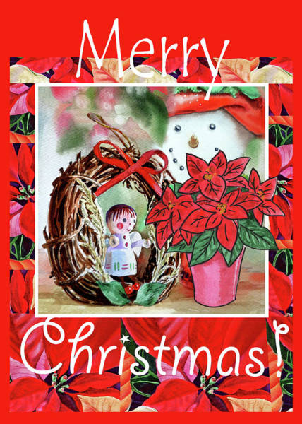 Painting - Christmas Angel Poinsettia And Snowman by Irina Sztukowski