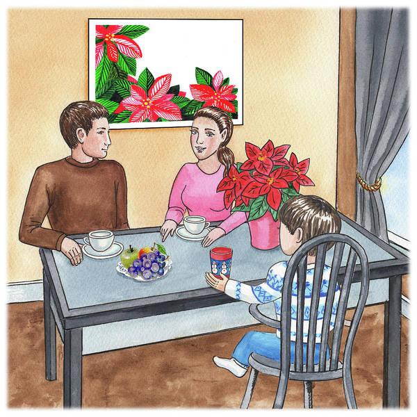 Painting - Christmas At Home Book Illustration by Irina Sztukowski