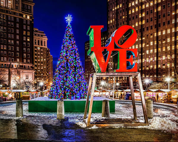 Photograph - Christmas At Love Park by Nick Zelinsky