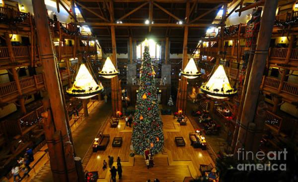 Disney World Photograph - Christmas At The Lodge by David Lee Thompson