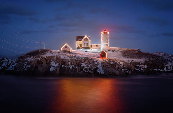 Wall Art - Photograph - Christmas At The Nubble by Jeff Bazinet