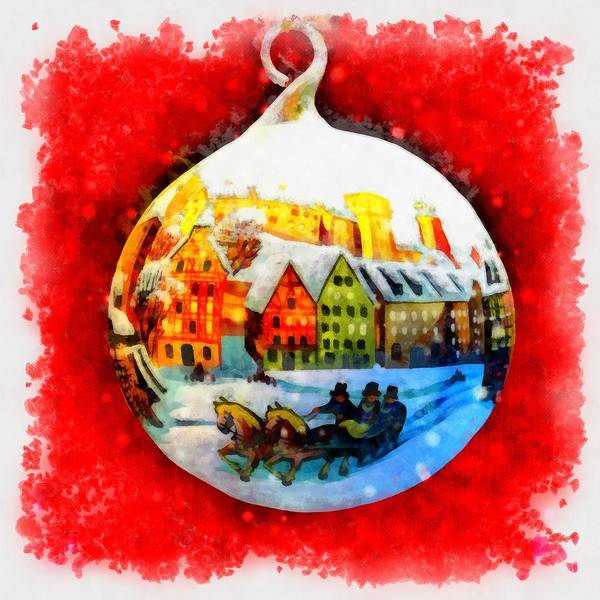 Wall Art - Painting - Christmas Ball Ball by Esoterica Art Agency